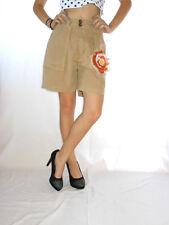 Geo Spirit Womens Beige High Waist Casual Tailored Cotton Shorts sz S AE63