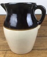 Vintage Two tone Pottery Stoneware Pitcher With Handle 8 1/2 Inch