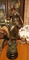 Antique french Spelter Statue 1884 Large