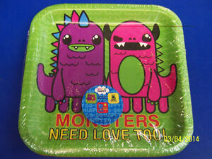 """So So Happy Be Lucky Spread Love Live Birthday Party 9"""" Square Dinner Plates"""