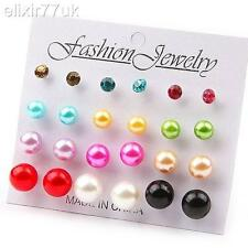 UK HOT 12 PAIRS STUDS EARRINGS SET EAR PIN STUD PEARL EMO CHARM BALL CHILDRENS