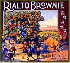 Rialto Brownie Elf Pixie Elves Orange Citrus Fruit Crate Box Label Art Print
