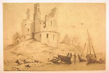 DEALERS STOCK (3) BOATS &  FIGURES BY A RUINED CASTLE PENCIL C1840