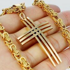Steel Cross Pendant Necklace 24Inch Gift 5mm Mens Chain Gold Byzantine Stainless