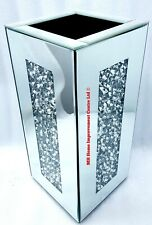 Diamond Crush Crystal Square Silver Mirrored Glass Decorative Vase Glitter Bling