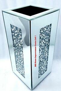 Diamond Crush Crystal Square Silver Mirrored Glass Decorative Vase Glitter Bling