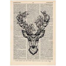 Floral deer antlers Dictionary Art Print Vintage Gift Art Alternative