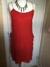 Whistles Size 10 Red Pure Silk Strappy layered Evening Dress Excellent Condition