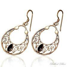 Vintage Earrings Studs Bronze Onyx Stone Black/Gold 1 Pair
