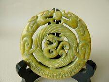 Vintage Jade Dragon Pendant - Double Dragon Chinese jade Pendant
