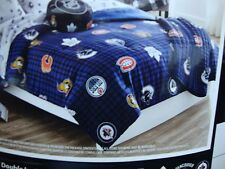 New  Navy Blue NHL Hockey Twin Double bed Comforter w/7 Canadians Team logos