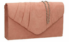 Women Suede Velvet Leather Envelope Ladies Evening Party Prom Smart Clutch Bag