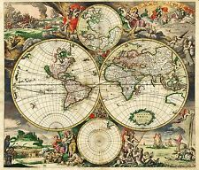 Old World 1689 Map of World 26 x 24 inches Art Quality Print