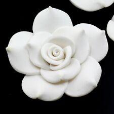 Handmade Snow White Soft Synthetic Porcelain Flower Rose Pendant Bead 40mm(APD02