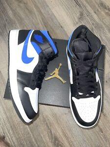 New Nike Air Jordan 1 Retro Mid, Men's Size 12, Black/Royal Blue, 554724-140