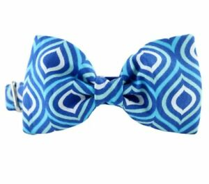 Royal Blue Waves Bow Tie Dog Collar