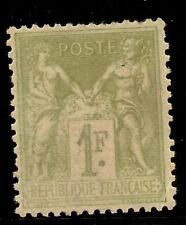 FRANCIA  Yvert 82 (*) mng     Sage Tipo II  1 Franco verde Oliva   1883  NL090