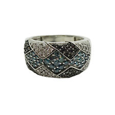 1Ct Blue White Black Diamond Silvermist Pave Cocktail Band Ring Sterling Size 7