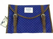 Sloane Ranger Buckingham Dots Preppy Navy Canvas Tablet Clutch NWT