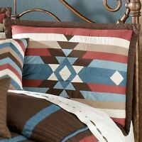 Southwest Quilted Sham Brown Blue Rustic Western Frontier Bedroom Decor