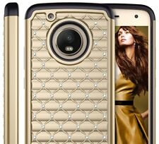 For Motorola Moto E4+ PLUS - Hard & Soft Hybrid Armor Case GOLD Diamond Bling