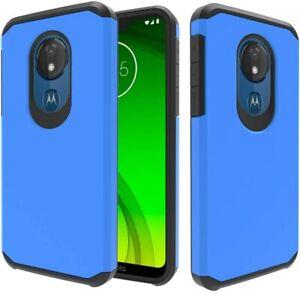 Moto G7 Power Case w/ Tempered Glass Screen Protector, Moto G7 Supra/Optimo Maxx