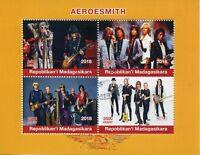 Madagascar 2018 CTO Aerosmith 4v M/S Music Guitars Musical Instruments Stamps