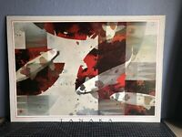 Tanaka Offset Lithograph Poster On Board - Fish Pond - Reds