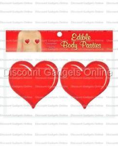 Edible Cinnamon Hearts Pasties Nipple Body Paint Tatoo - Flavored RED