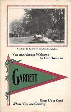 A74/ Garrett Indiana In Pennant Postcard 1913 Randolph St Home Advertisement 2