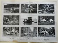 Hunting Trip in Maine and Canada Early Automobile Camping Tents 1905 old print