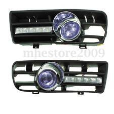Blue Front Lower Bumper Fog LED Light Lamp Grille Switch For 98-04 VW GOLF MK4