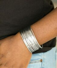 Paparazzi Wire Warrior Silver Color Cuff bracelet Can adjust size a little