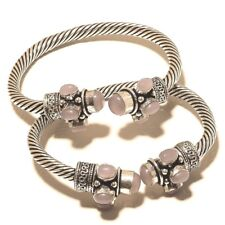 Rose Quartz Free Shipping Lot Cuff 925 Silver Plated Handmade Gemstone Jewelry