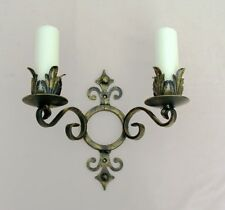 WROUGHT IRON CANDLE WALL SCONCE/HOLDER DOUBLE  LARGE H/WEIGHT