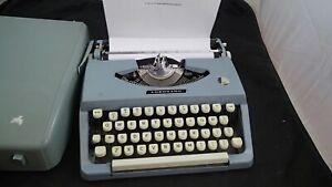 Vintage Blue Metal Coronado Brother Portable Manual Typewriter W/ Case Japan
