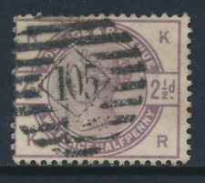 1884 GB QV 2½d LILAC USED SG190 LETTERS 'KR'