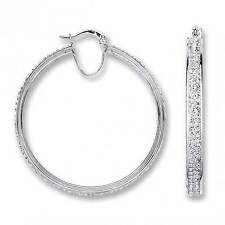 Large Sterling Silver 2 Row Centre Pave Set Crystal 40mm Hoop Earrings 8.0g
