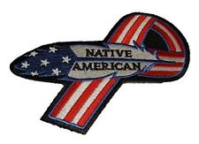 NATIVE AMERICAN FEATHER USA FLAG RIBBON PATCH PATRIOTIC INDIAN INDIGENOUS TRIBE