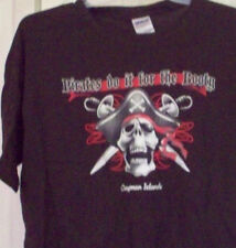"""L Large Mens T-SHIRT """"Pirates Do It for THE BOOTY"""" CAYMAN ISLANDS Skull Sword"""
