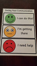 Class Communication - Smiley Face Traffic light system- A4 Laminated poster