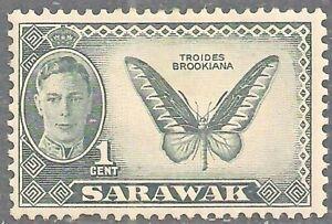 SARAWAK 1950 SG171 KGVI 1c. TROGONOPTERA BROOKIANA BUTTERFLY  -  MNH