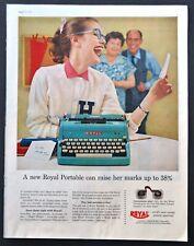 Royal Electric Typewriter PRINT AD - 1957 vintage original Blue Sexist Ad