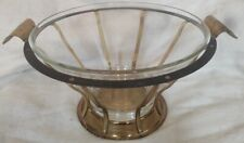 Original Vintage Mid Century Modern Wire And Glass Serving Bowl Display