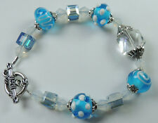 crafted  Turquoise Lampwork & White Patterns & Cube & Frosted Crystal Bracelet