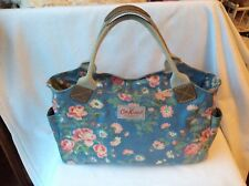 Cath Kidston Day Bag Blue Pink Flowers Two Handles Zipped Oilcloth