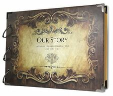 SiCoHome Scrapbook Album Our Story with Scrapbooking Storage Box and Supplies