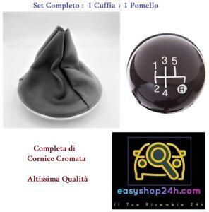 CUFFIA E POMELLO LEVA CAMBIO PER FIAT 500 2007 2015 CON GHIERA CORNICE CROMATA