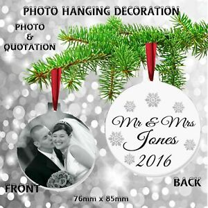 Personalised PHOTO First Christmas Tree Wedding Anniversary Decoration Gift