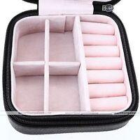 Travel Portable Leather Zip Jewelry Display Holder Storage Case Organizer Box #1